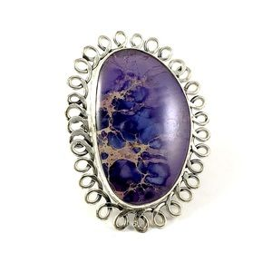 925 Sterling Silver Agate Statement Ring Size 9